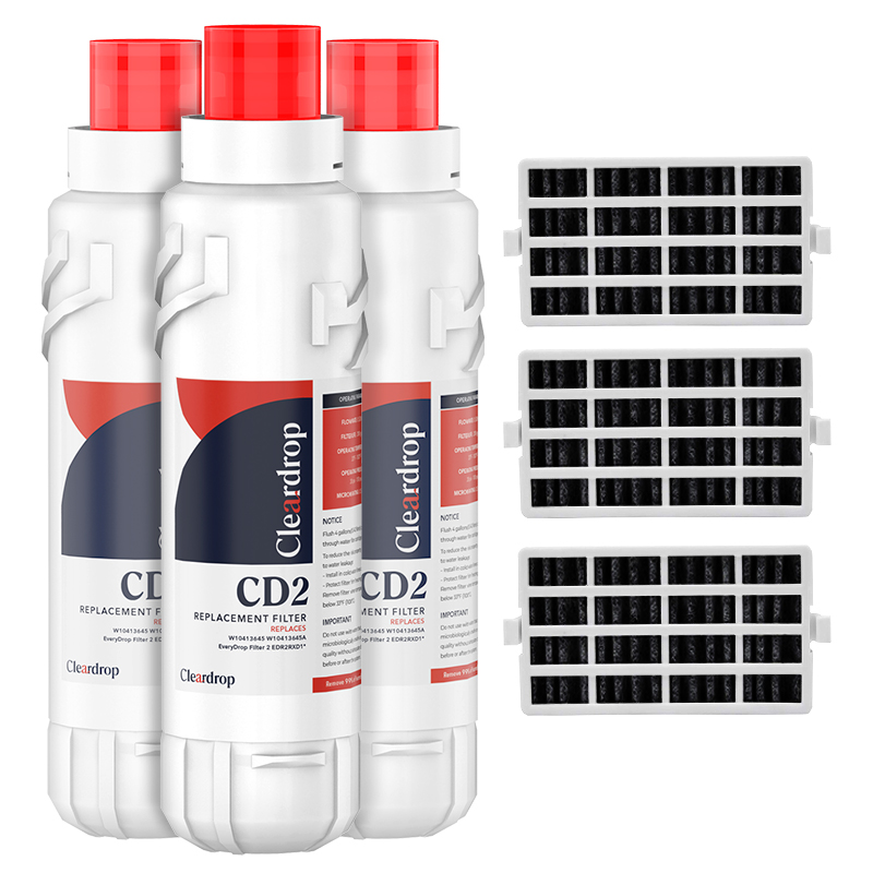 3pk EDR2RXD1, W10413645A, 9082 Refrigerator Water Filter2 & Air Filter by Cleardrop