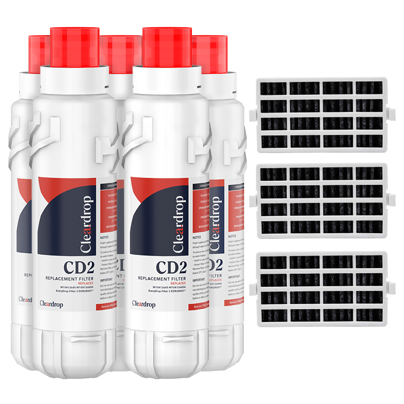 5pk EDR2RXD1, W10413645A, 9082 Refrigerator Water Filter2 & Air Filter by Cleardrop